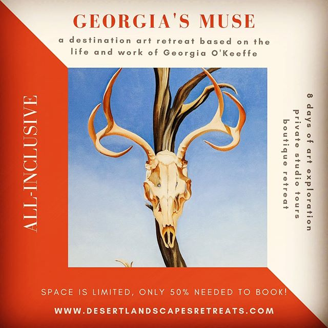 "Don't miss out! The registration deadline is fast approaching for Georgia's Muse! We're here to answer any questions, simply drop us a DM or email. bit.ly/georgiasmuse  Georgia's Muse is an 8-day mixed media art retreat inspired by the ""Mother of American Modernism"" Georgia O'Keeffe. As we dive deeper into the works and life of this great artist we will immerse ourselves in the landscape and nature that so inspired her!  #georgiaokeeffe #artworkshop #travel #artistsoninstagram #getaway #experience #ghostranch #arttravel #artclasses #artlessons #artretreat #travelNM #desertart #womeninart #getoutsideandplay #newmexicoartist #paintwithme #paintingworkshops #newmexicoart #travelandpaint #desertartist #torontoartscene #paintmore #getoutsidemore #GOKM #artistsretreat #okeeffeinspired #travelblogger #instatravel"