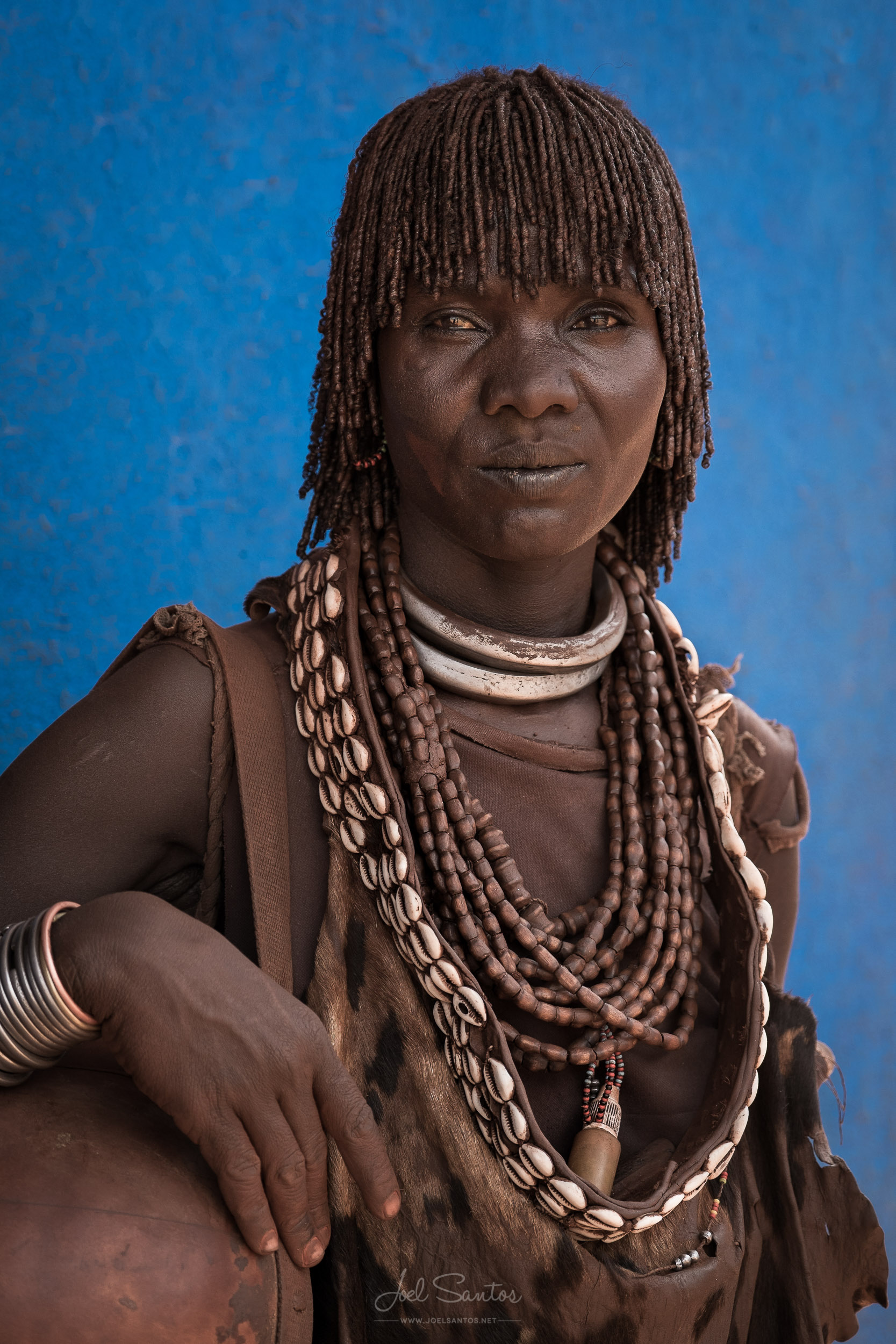 Hamer Tribe Woman with Leather Clothing and Shells, Omo Valley, Ethiopia