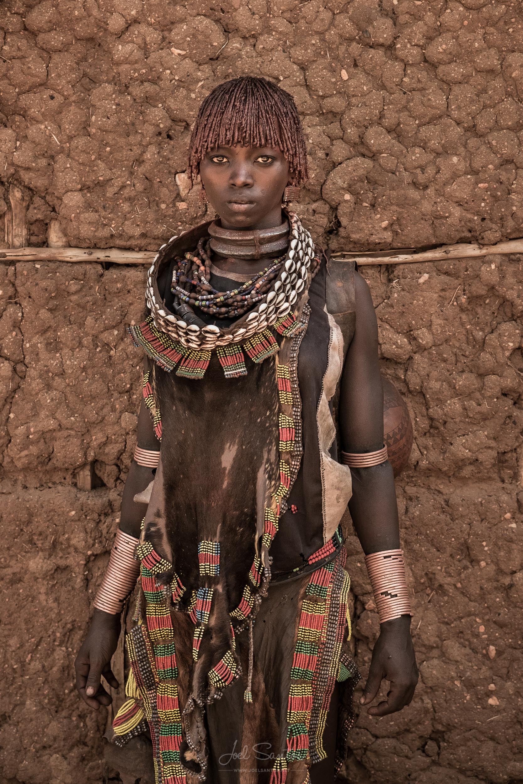 Hamer Tribe Woman with Leather Clothing, Omo Valley, Ethiopia