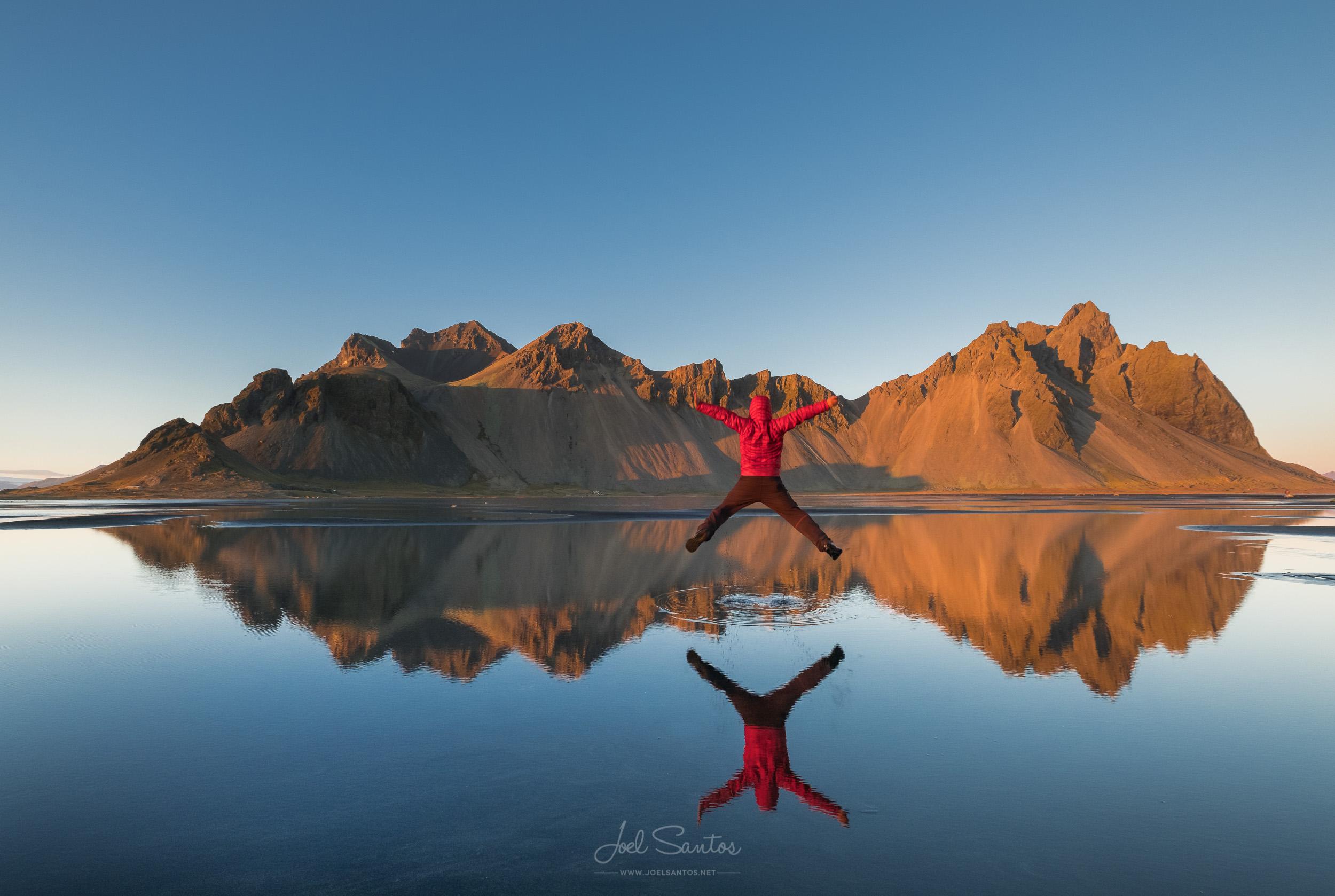 """X"", Man jumping, Stokksnes peninsula, Iceland"