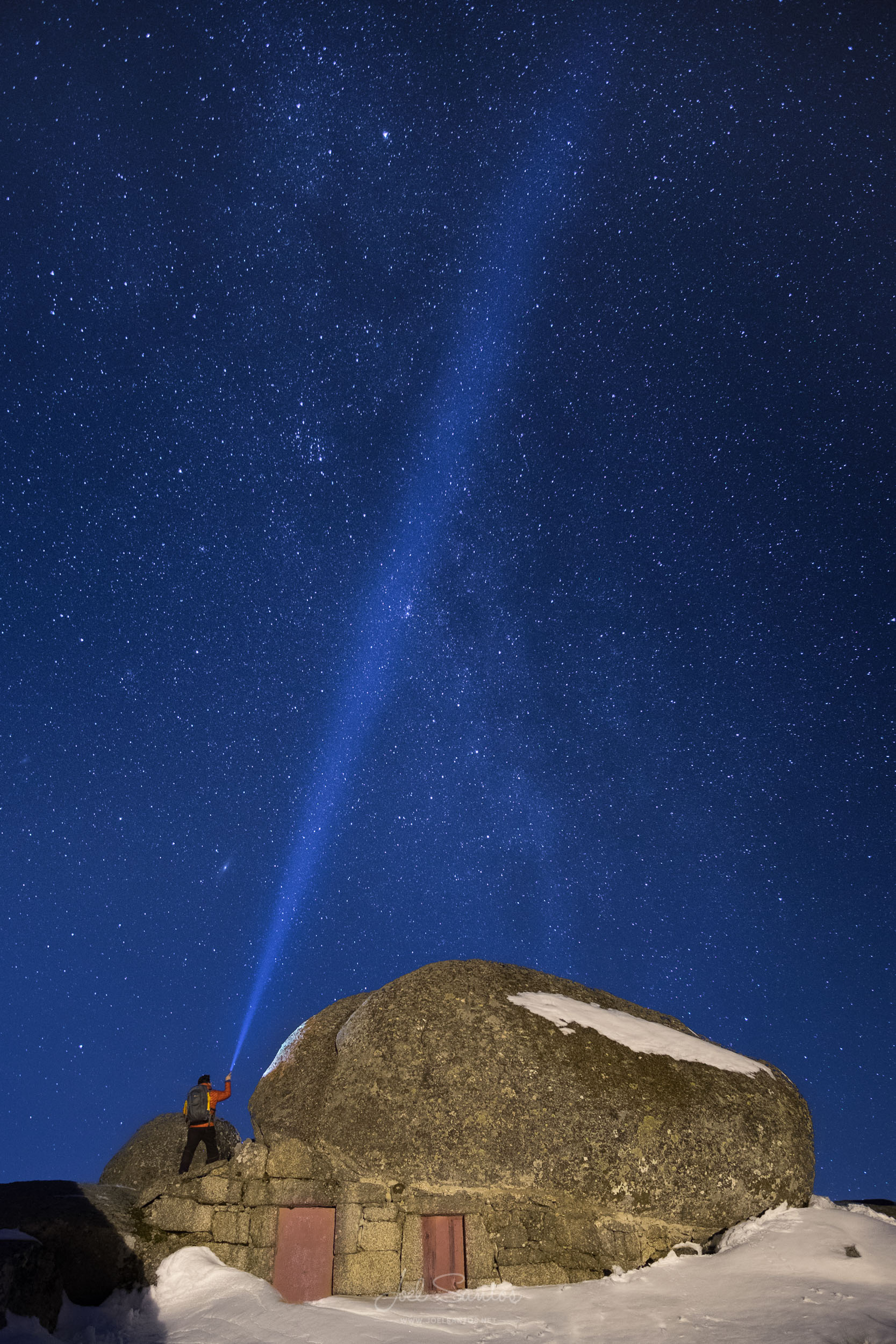 Rock house, under the starry sky, Serra da Estrela, Portugal