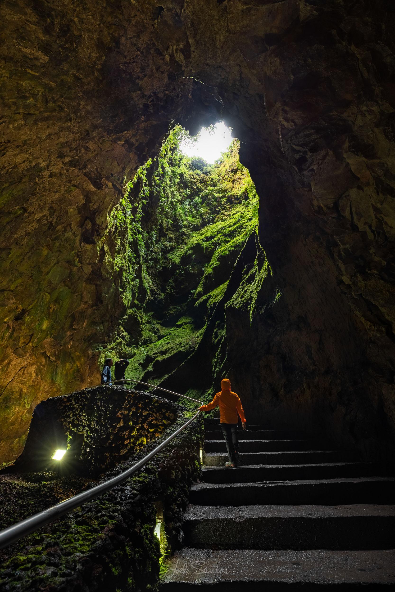 Algar do Carvão (volcanic chamber), Terceira Island, Azores, Po