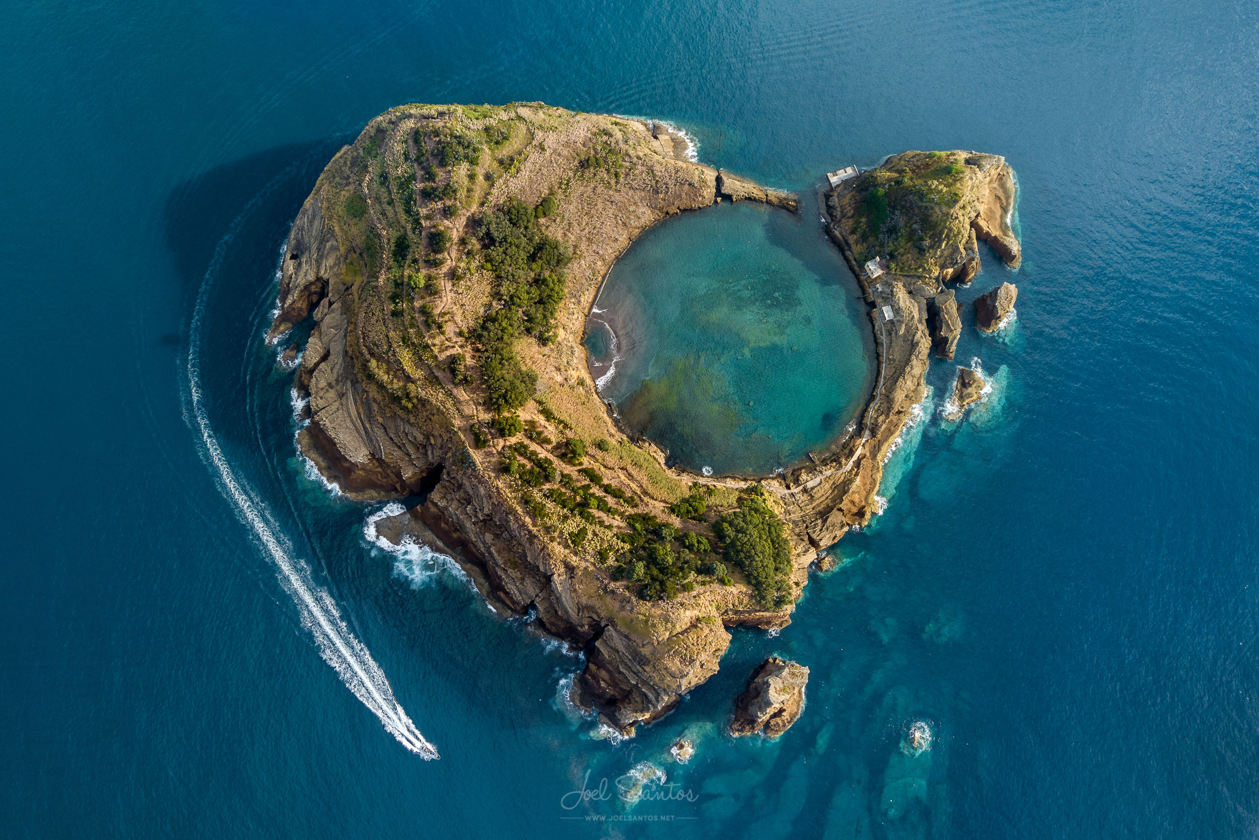 Vila Franca do Campo, Ocean Volcanic Crater, Aerial, São Miguel