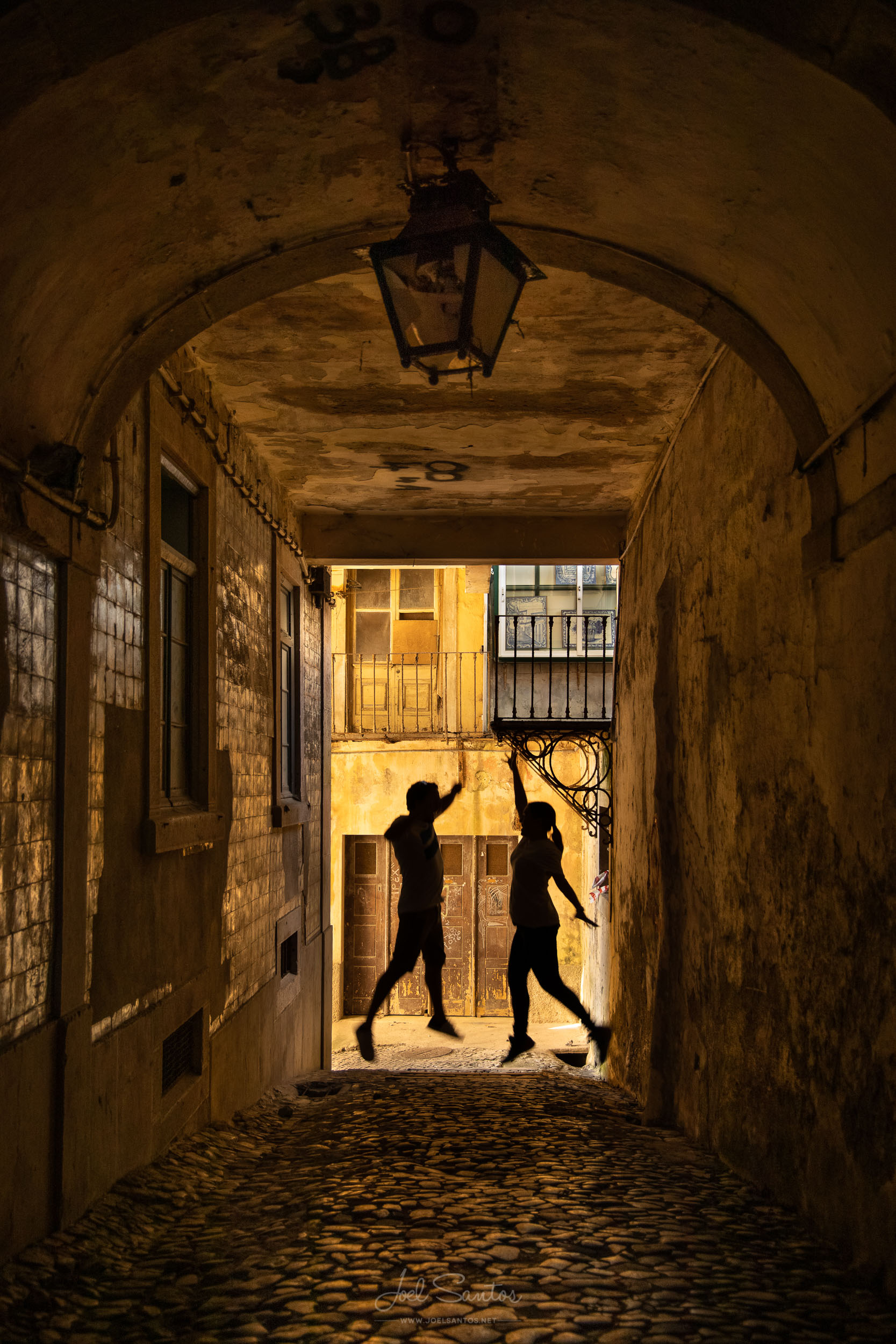 Dark Alley Couple Jumping, Sintra, Portugal