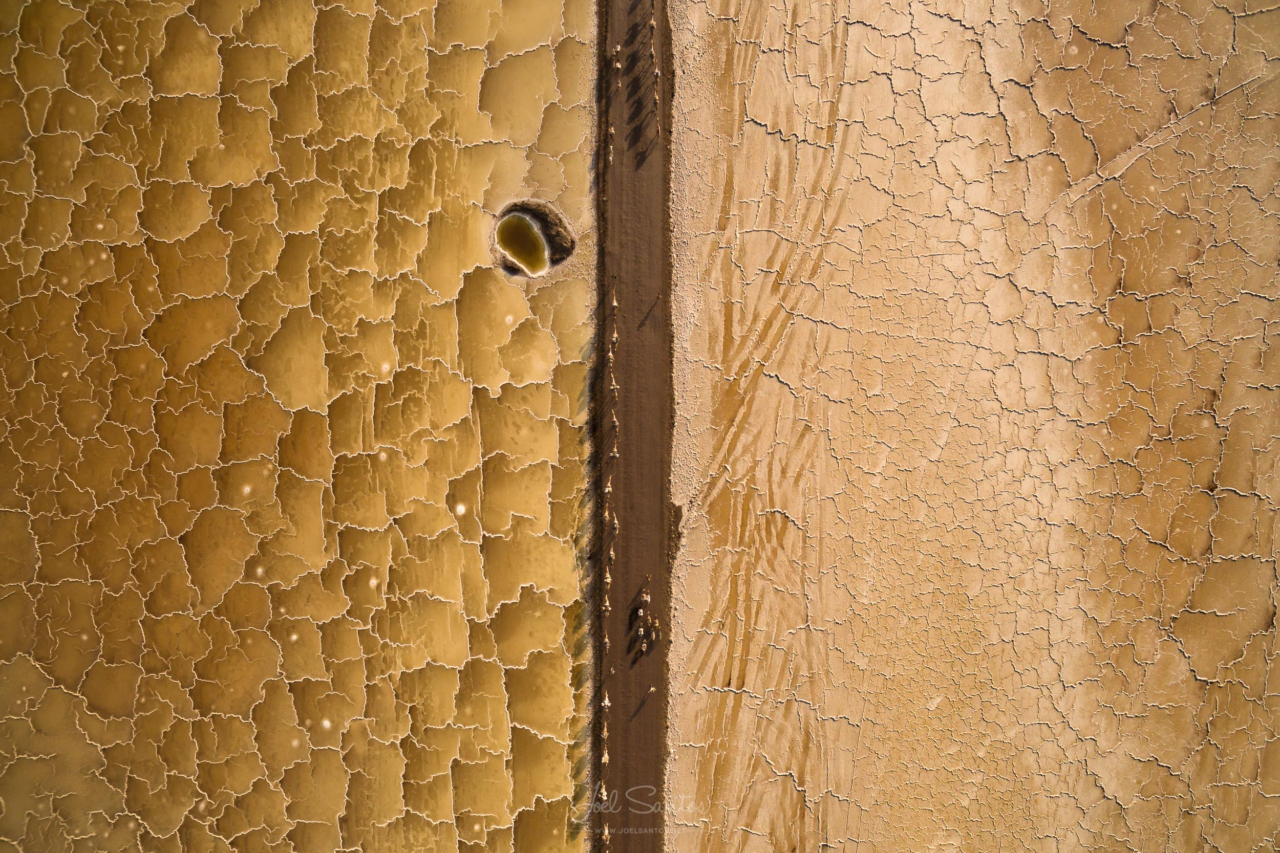 Salt Miner with dromedary caravan and salt patterns, Aerial Imag