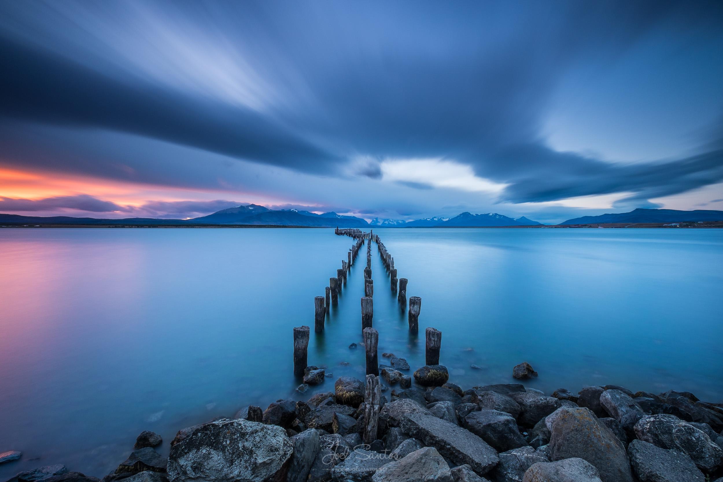 Puerto Natales, wooden dock / pier, Patagonia,  Torres del Paine