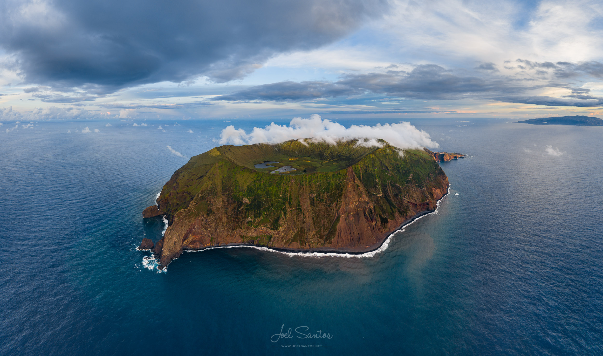 Corvo Island crater aerial view, Azores, Portugal