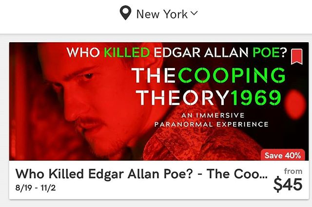 Looking for the latest deal? Visit  our friends at @todaytix on the app or online. Book & Save. Join the Seance tomorrow Saturday at 3PM & 7PM  #knock3xs . . . . #todaytix #nyc #theatre #tickets #save #TheCoopingTheory1969 #edgarallanpoe #immersive #paranormal #experience #nyc