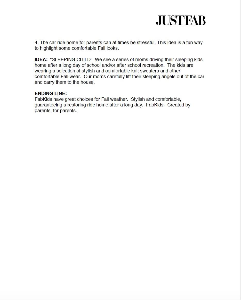 JUSTFAB TV SPOTS Spec Script pg. 2