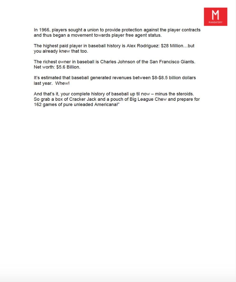 Mandatory Baseball History Infographic Script for MillerCoors pg. 2