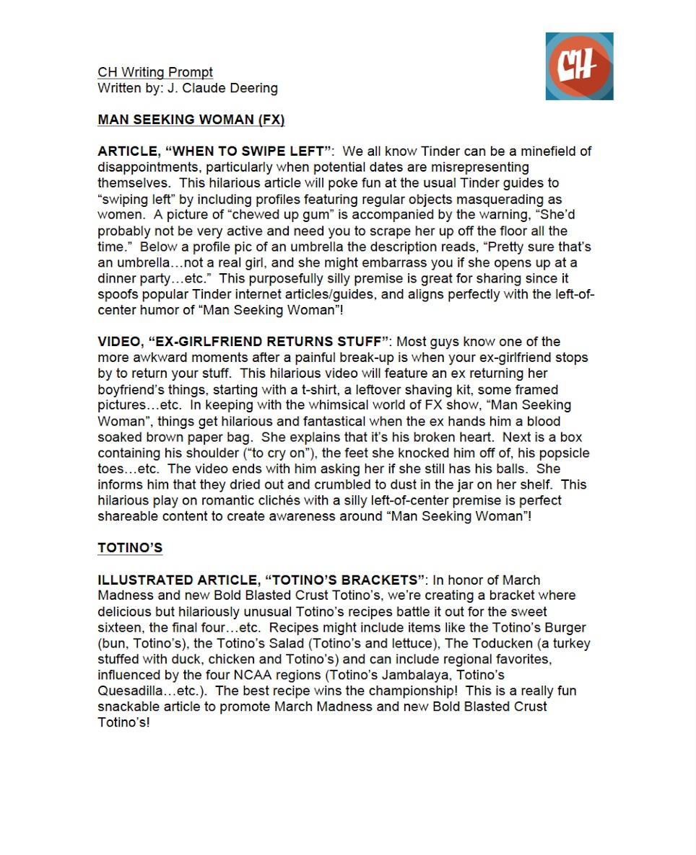 CollegeHumor Writing Prompt pg.1