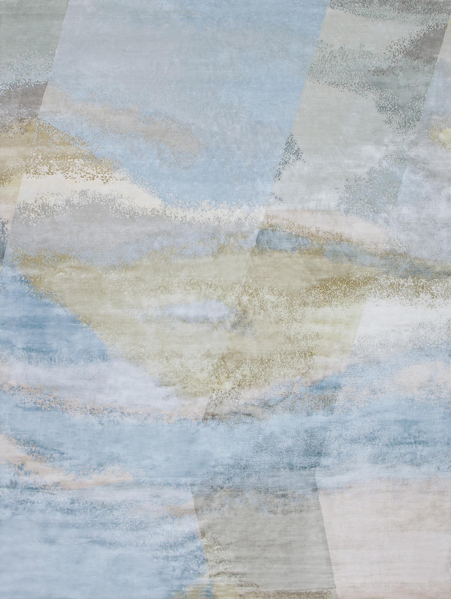 """TURNER-i TÁJKÉP - A romantika korának híres festőjére jellemző foltfestéses technika nagy hatással volt a későbbi impresszionistákra. Ég és tenger minden időjárásban más hangulatot hagyott hátra ecsetvonásai alatt. Az EDITION BOUGAINVILLE szőnyegeink számtalan romantikus tájrészletből merítenek! Kollekcióinkat megtekintheted a S/ALON - on is!A képen az """"aral sunrise"""" selyem-gyapjú szőnyeg látható, mely bármilyen méretben rendelhető!"""