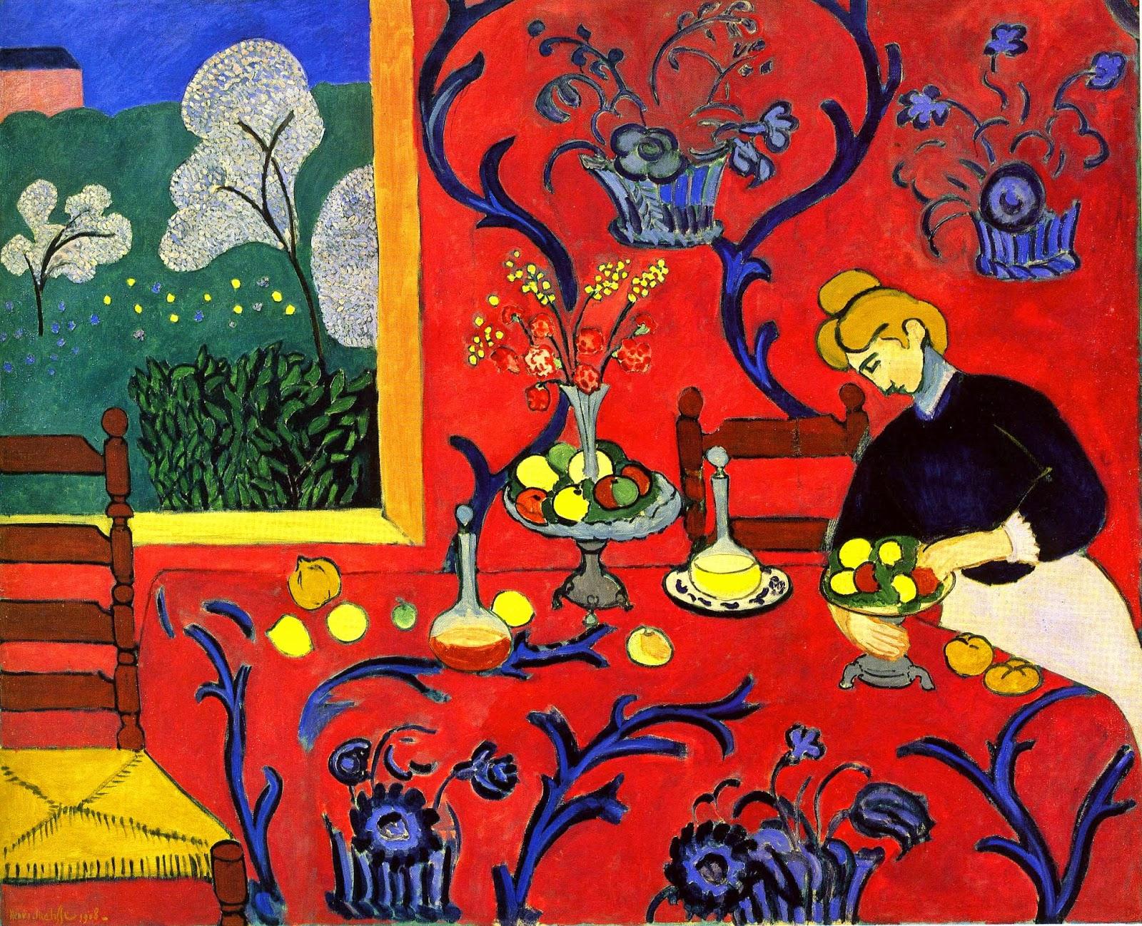 tapéta - ha nem mered a bútorodat színesíteni, dobd fel a faladat egy drámain erős árnyalatú tapétával!Henri Matisse festménye is inspiráló lehet!