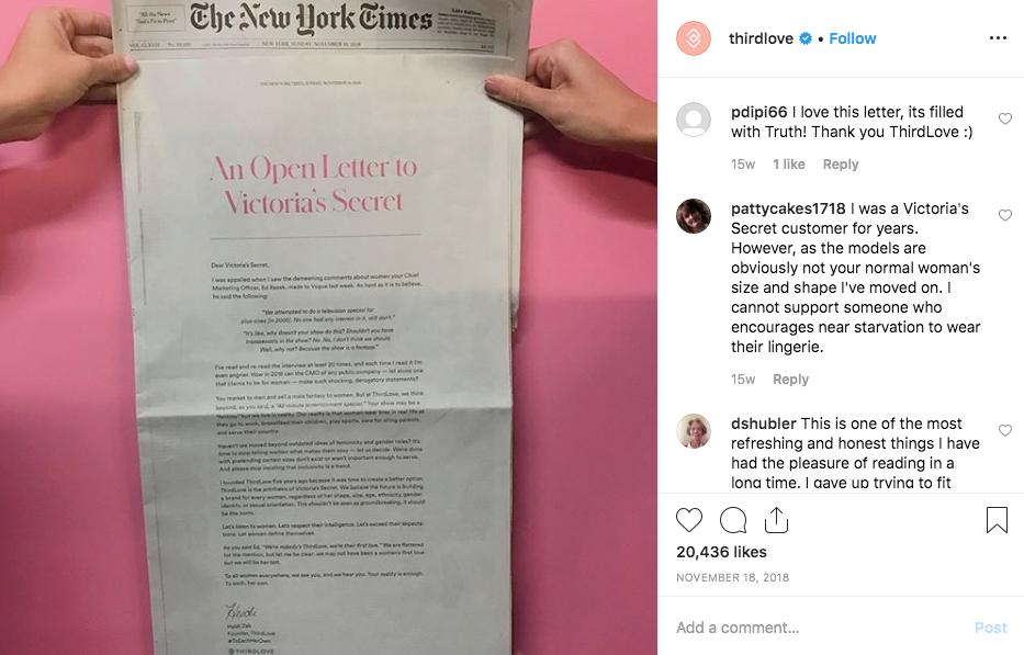 Compañía ThirdLove manda una carta a Victoria's Secret publicada en el New York Times.   (Fuente: Instagram/@thirdlove)
