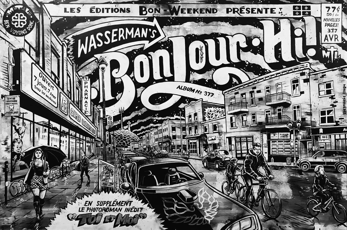 painting on panel: Bonjour-Hi!