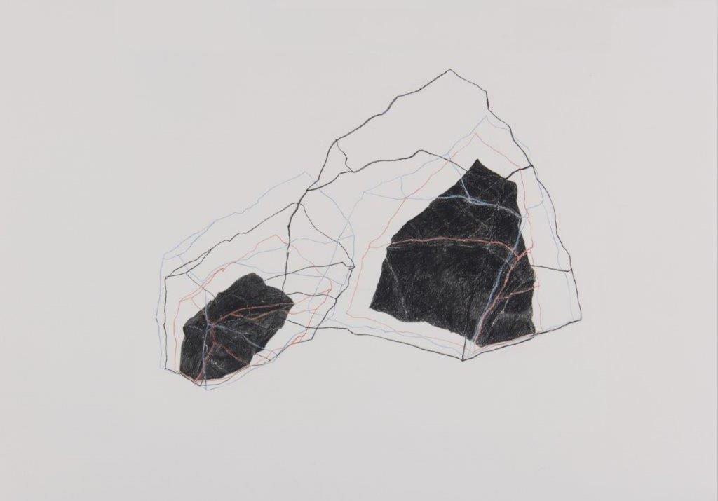 Sans titre, 2018, graphite et crayons divers sur papier, 35 x 50 cm