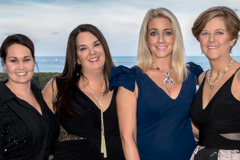 Pictured: 2018 Gala Co-Chairs, Jessica Fleming, Sarah Boulos, Diana Peterson and 2018 President, Alice Schaff