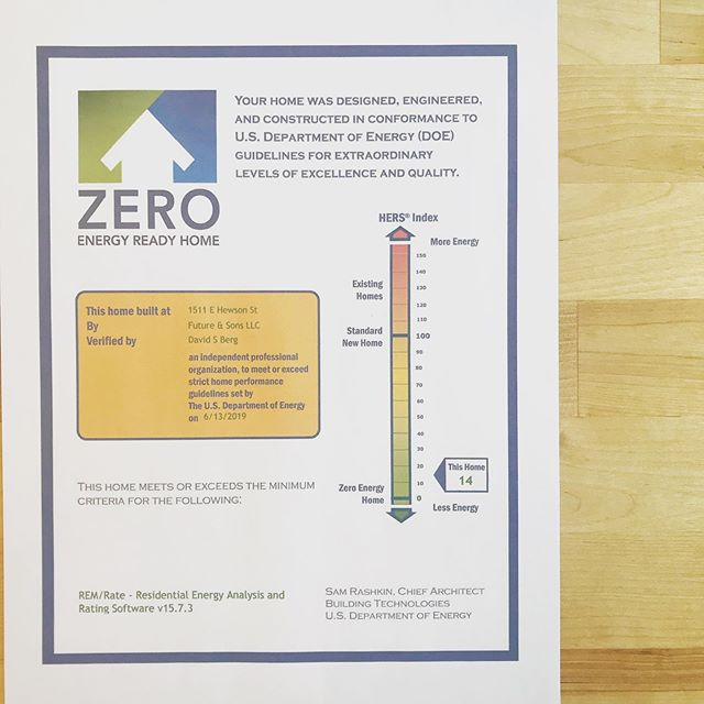 """At @brightcommon we believe in the #Architecture2030Challenge where """"All new buildings, developments, and major renovations shall be carbon neutral by 2030."""" @outlet_space_ just received its @zeroenergyreadyhomes certificate tunneling its energy use to a HERS 14!!! As we get lost in the endless drone of presidential debating, let's remember to vote on climate so we can all have a future to hang out in together. #brightcommon #climatechangeadaptedurbanism #sustainable19125"""
