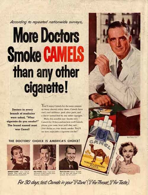 cigarettes camel doctors to show unhealthy misleading advertising in wellbeing.jpg
