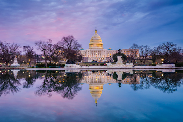 The United States Capitol at sunset in Washington, D.C