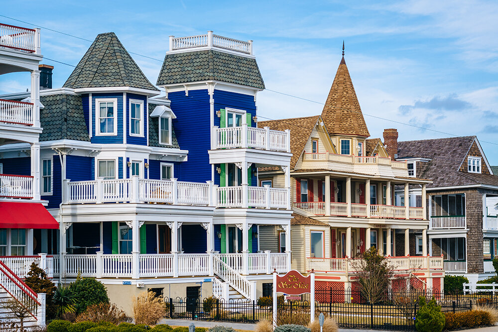 Houses on Beach Avenue, Cape May, New Jersey