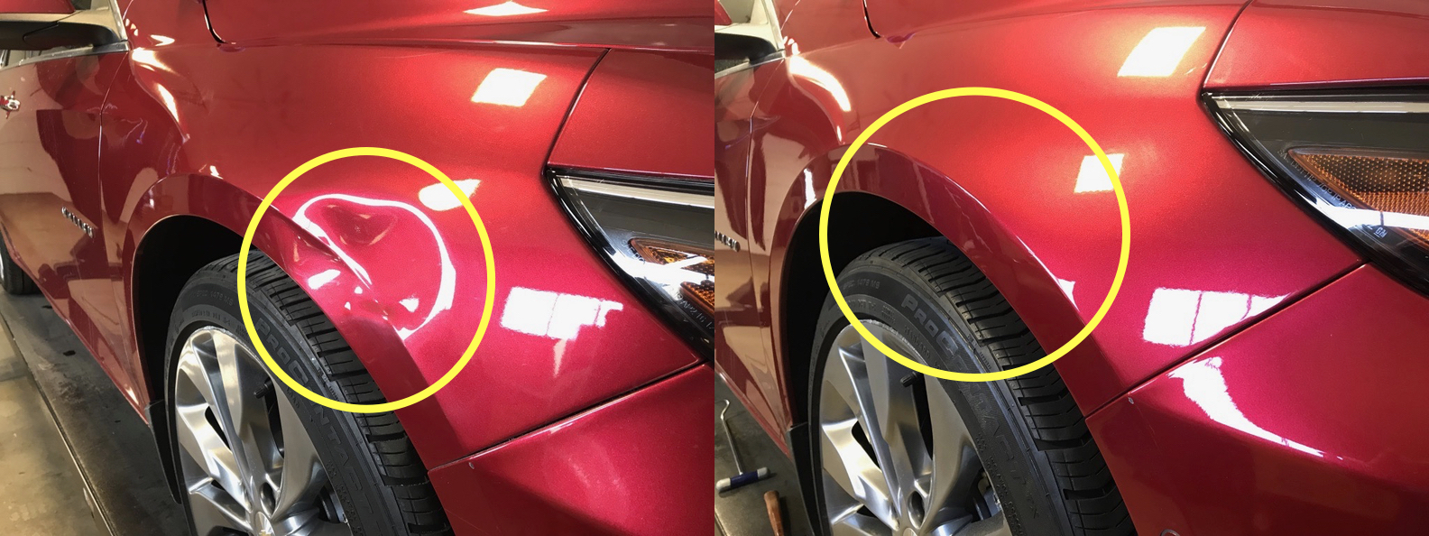 BEFORE & AFTER: LARGE DENT ON FENDER THROUGH BODY LINE; DAMAGE REMOVED & REPAIRED WITH PAINTLESS DENT REPAIR BY THE DENT GUY. NO PAINT OR BODY FILLER NEEDED.