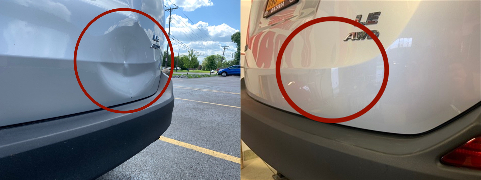 BEFORE & AFTER: EXTREMELY LARGE DENT IN RAV4 HATCH BACK PANEL & BODY LINE; DAMAGE REMOVAL & REPAIR DONE WITH PDR BY THE DENT GUY