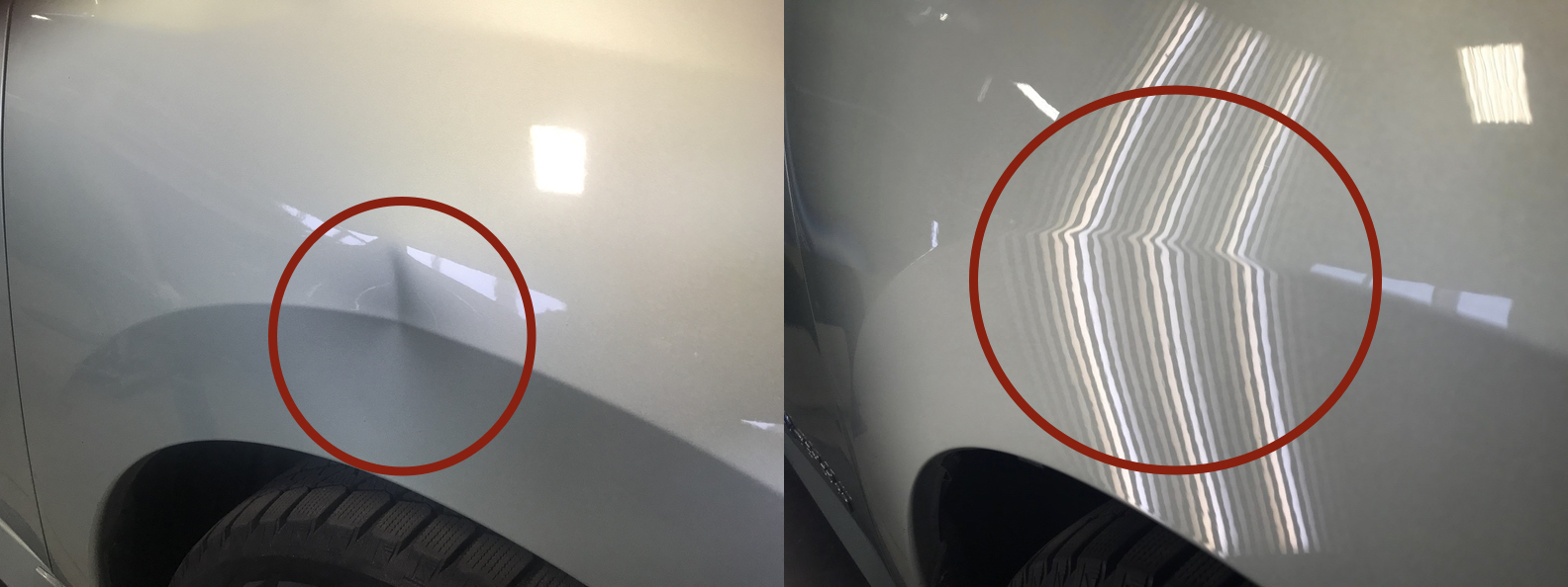 BEFORE & AFTER: DENT CREASE IN FENDER & BODY LINE; DAMAGE REMOVED & REPAIRED WITH PDR BY THE DENT GUY