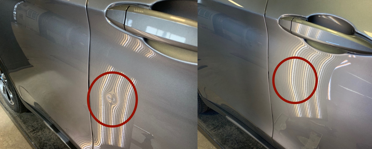 BEFORE & AFTER: SMALL SHOPPING CART DENT IN CAR DOOR; DING REMOVAL & REPAIR DONE WITH PAINTLESS DENT REPAIR, BY THE DENT GUY