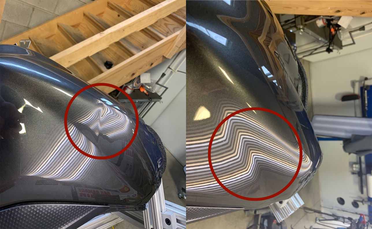 BEFORE & AFTER: SMALL DENT IN YAMAHA MOTORCYCLE GAS TANK; DAMAGE REMOVED & REPAIRED WITH PDR BY THE DENT GUY