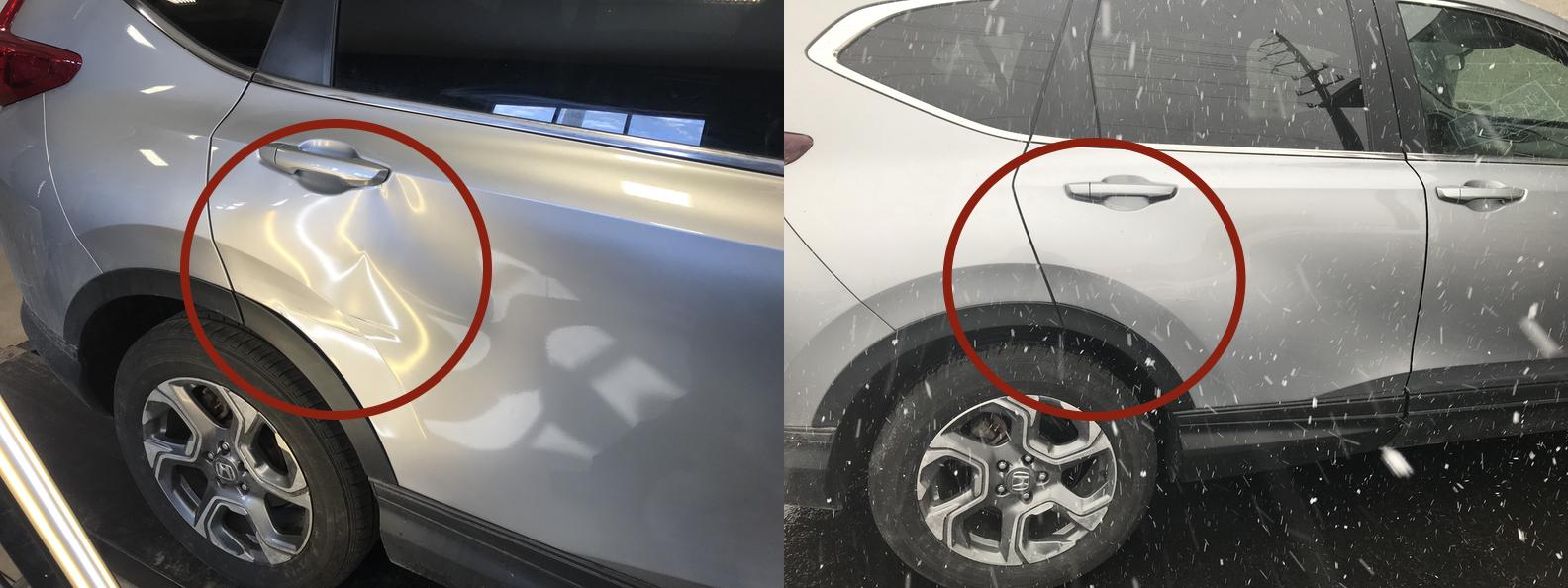 BEFORE & AFTER: EXTREMELY LARGE DENTS IN REAR DOOR; DAMAGE REMOVED & REPAIRED WITH PDR BY THE DENT GUY