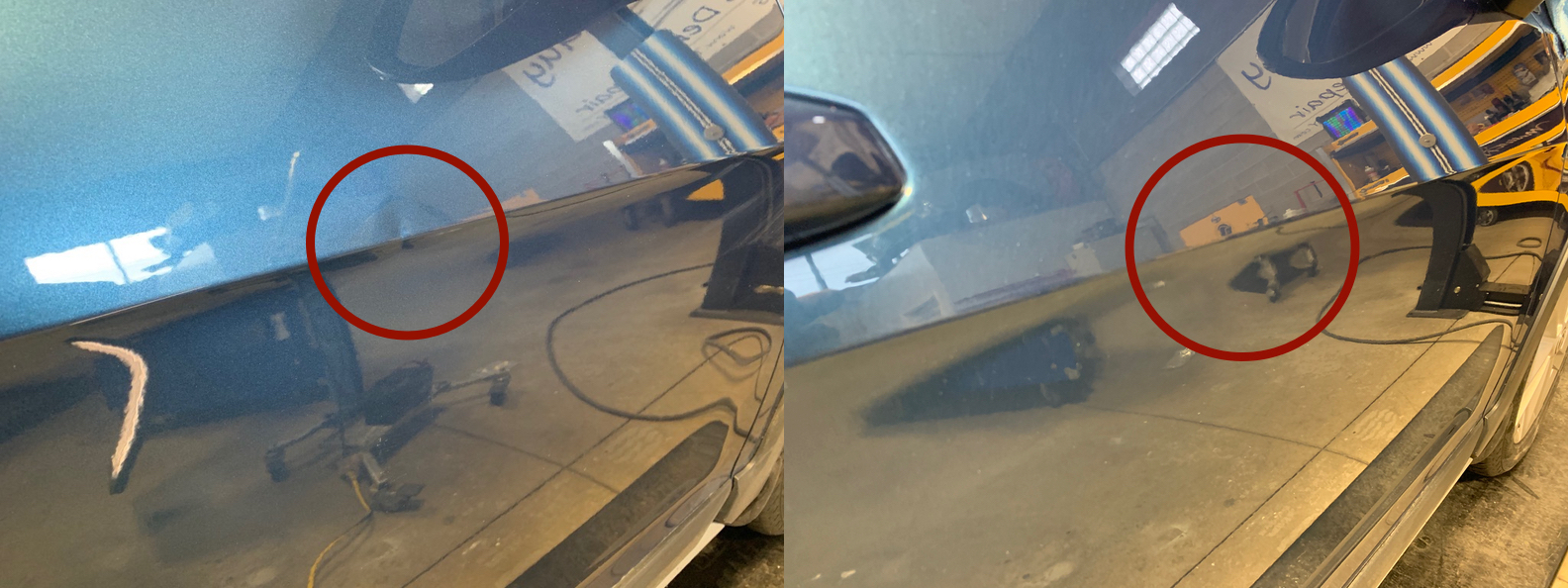 BEFORE & AFTER: SMALL DING IN DOOR BODY LINE; DAMAGE REMOVED & REPAIRED WITH PDR BY THE DENT GUY
