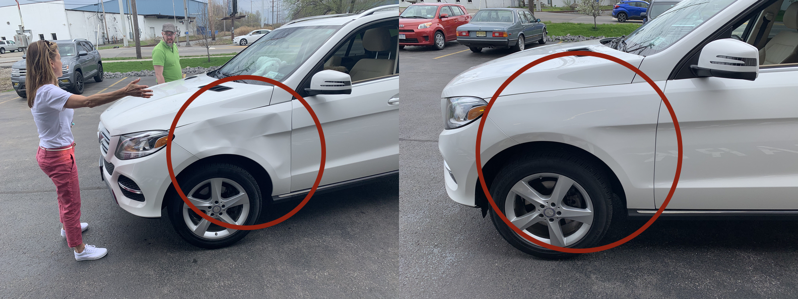BEFORE & AFTER: EXTREME DAMAGE TO FENDER, BODY LINES WITH DENTS & CREASES; DAMAGE REMOVED & REPAIRED WITH PAINTLESS DENT REPAIR & GLUE PULLING PDR BY THE DENT GUY.