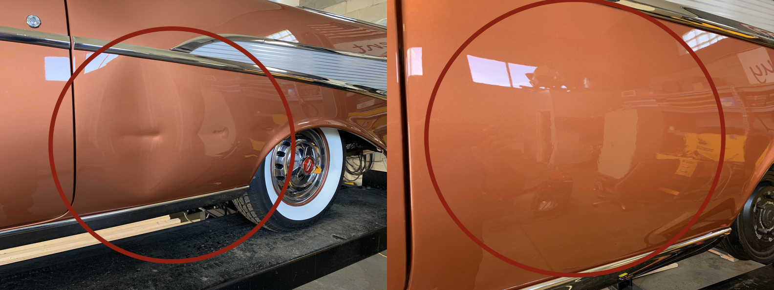 BEFORE & AFTER: EXTREMELY LARGE DENT & VERY DEEP DENTS IN QUARTER PANEL; DENTS REMOVED THROUGH GLUE PULLING PDR AND PAINTLESS DENT REPAIR BY THE DENT GUY