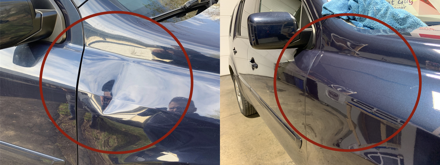 BEFORE & AFTER: LARGE DENT IN FENDER & BODY LINE; DENT REMOVED AND REPAIRED WITH PAINTLESS DENT REPAIR BY THE DENT GUY