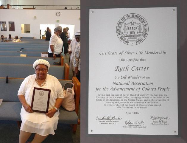 Ruth Carter,NAACP Life Member, - April, 2016