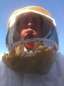 Safety is key in wasp and bee removal. Corey Finley, co-owner and operator of Bug Off Pest Control, in proper protective equipment.