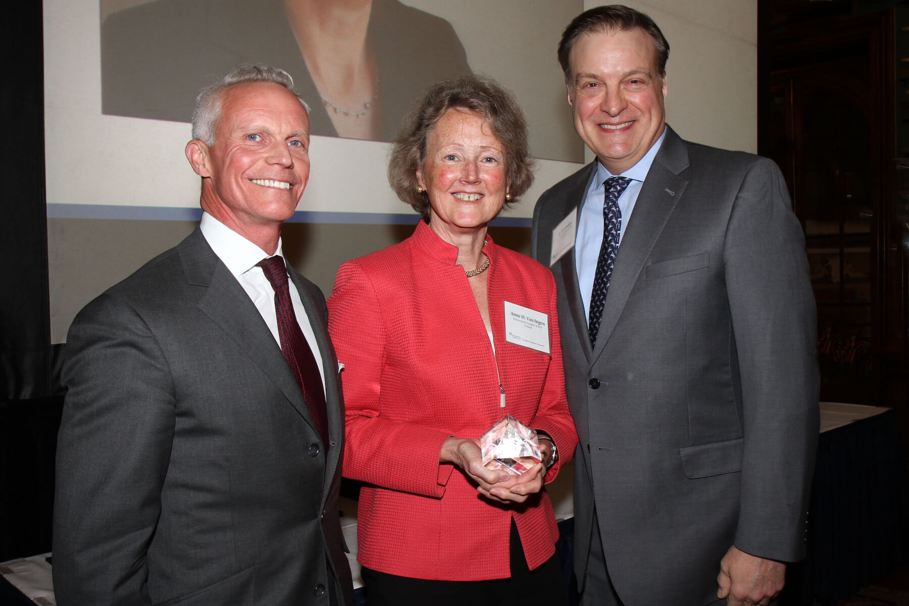 Outgoing Board Chair Anne Van Ingen (center) with current Board Chair Paul Provost and  Jay DiLorenzo