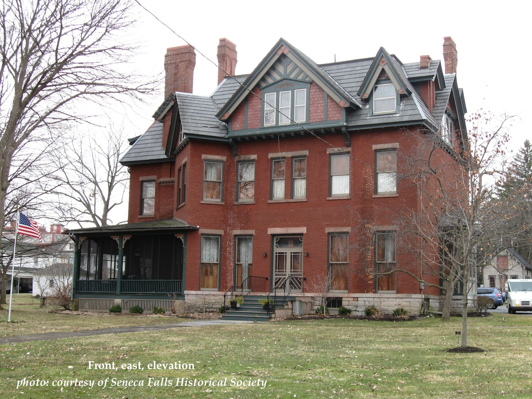 In 2015, the Seneca Falls Historical Society secured a $3,000 Technical Assistance Grant to support the cost of a condition survey of the 1855 Mynderse/Partridge/Becker House