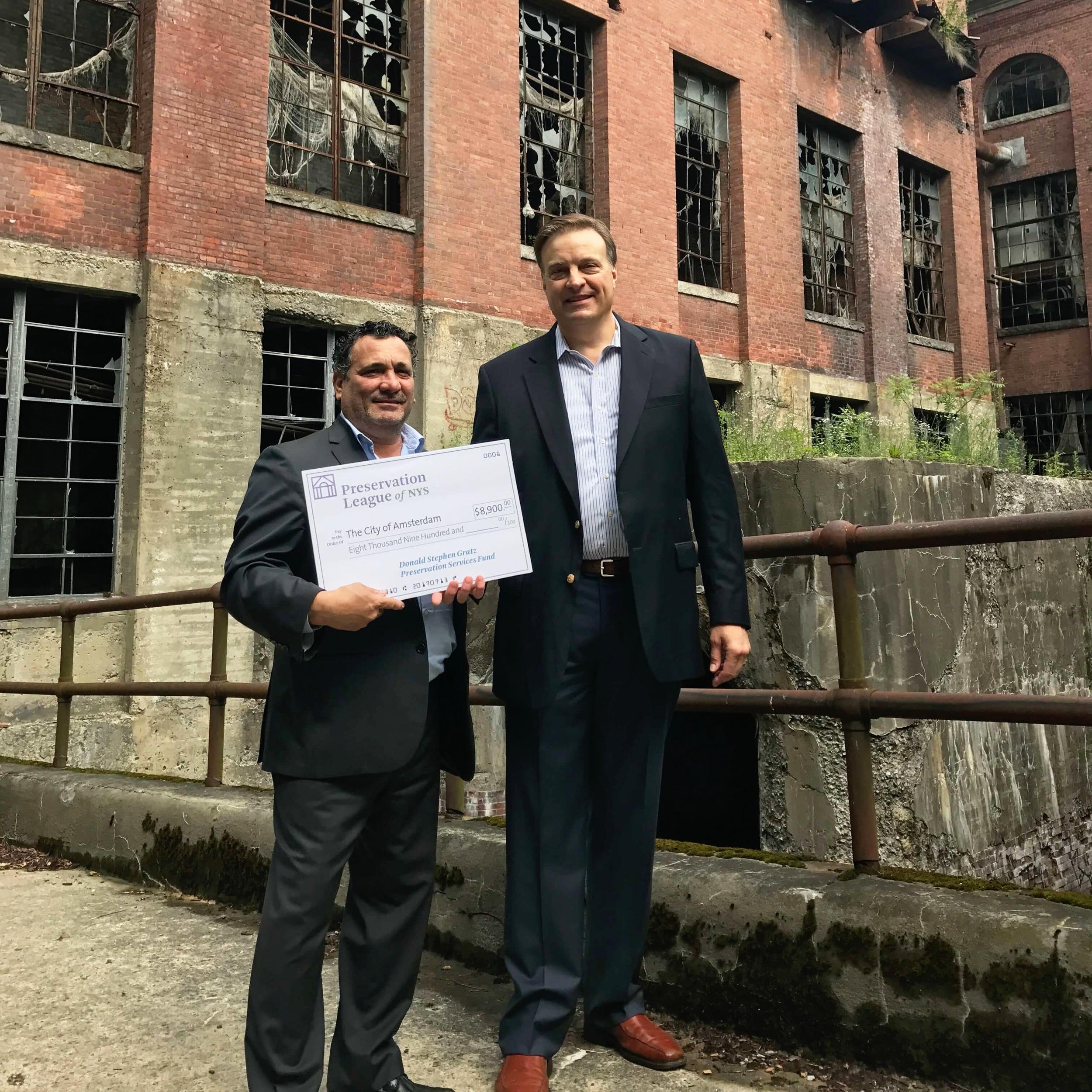 Amsterdam Mayor Michael Villa and Preservation League President Jay DiLorenzo