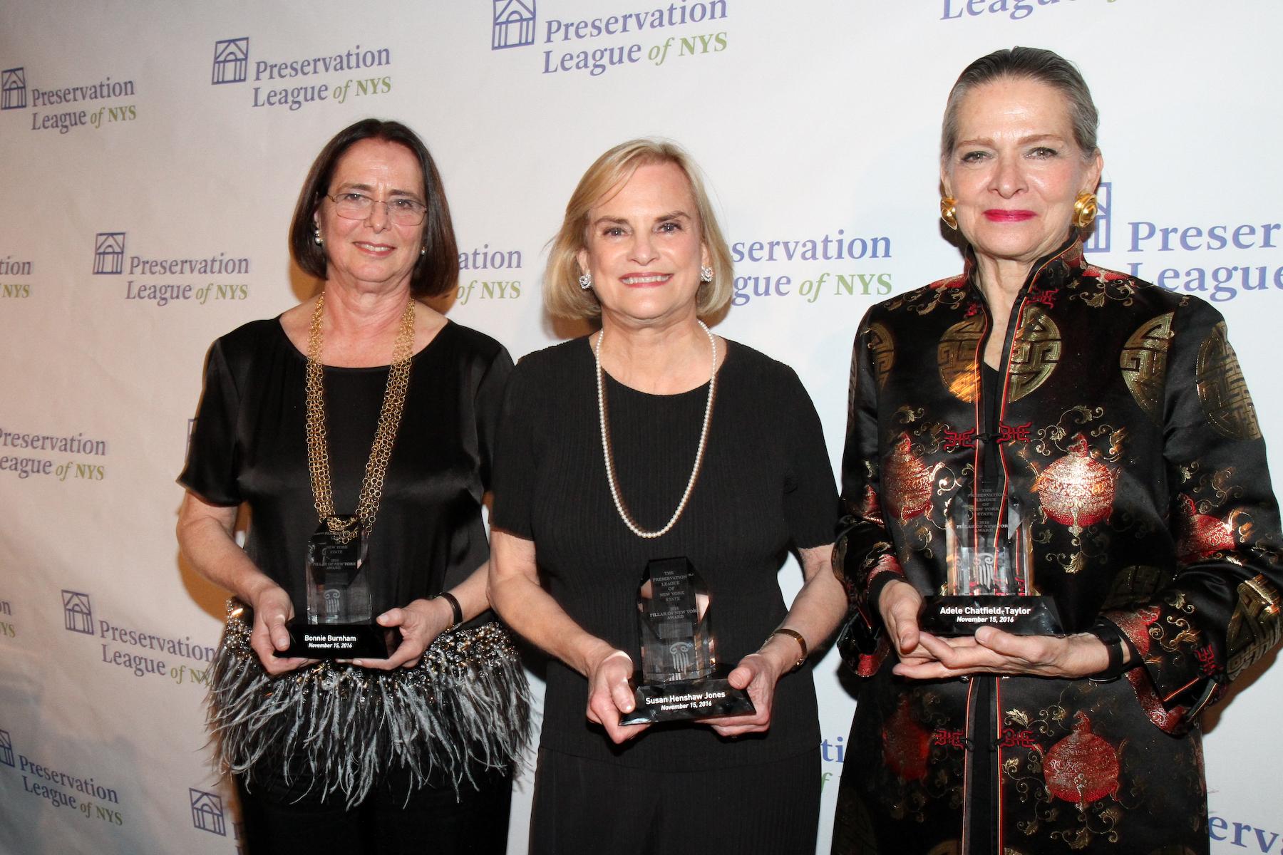 Pillar Award honorees Bonnie Burnham Susan Henshaw Jones and Adele Chatfield-Taylor