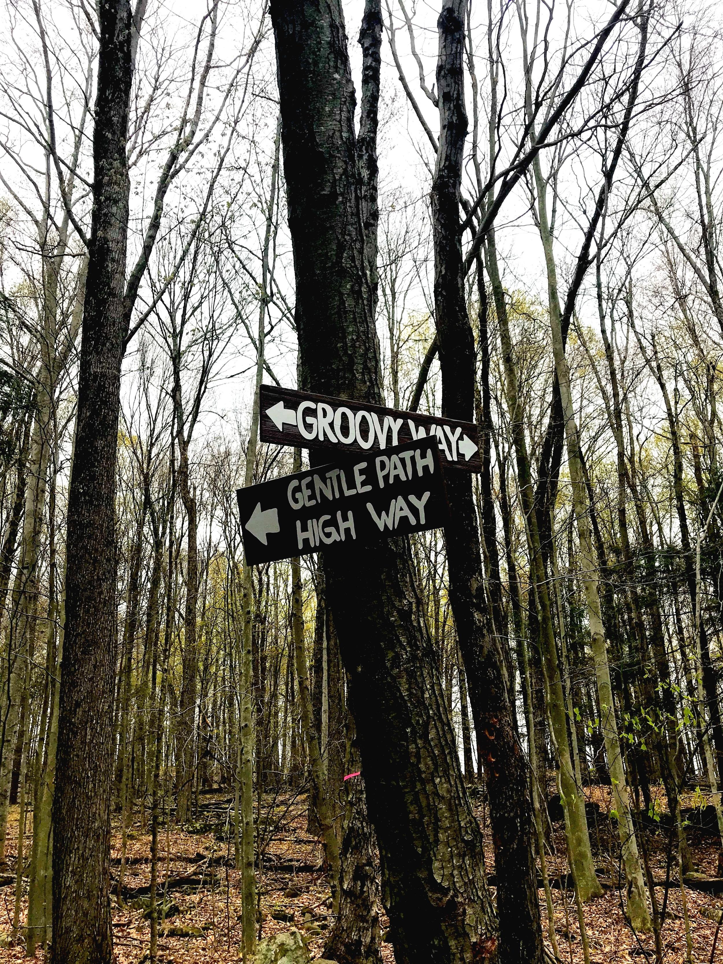 Wayfinding signage along the trails mimic original signs