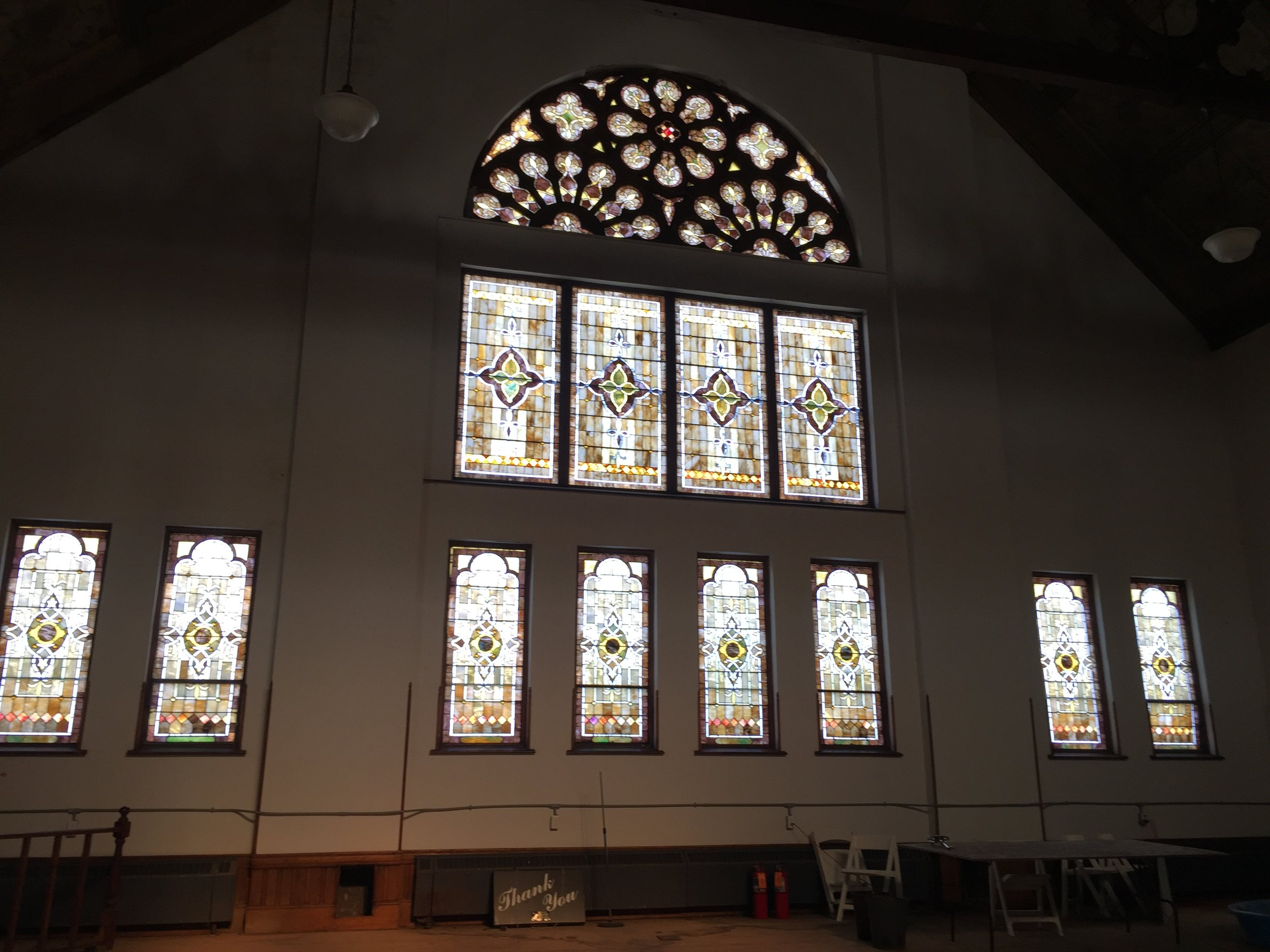 stained glass inside Unity Hall