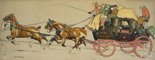 Coaching Chromolithograph by Cecil Aldin