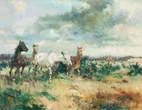 Lyne Wild Horses with Foxhunt in Background, oil, 28 x 36.jpg