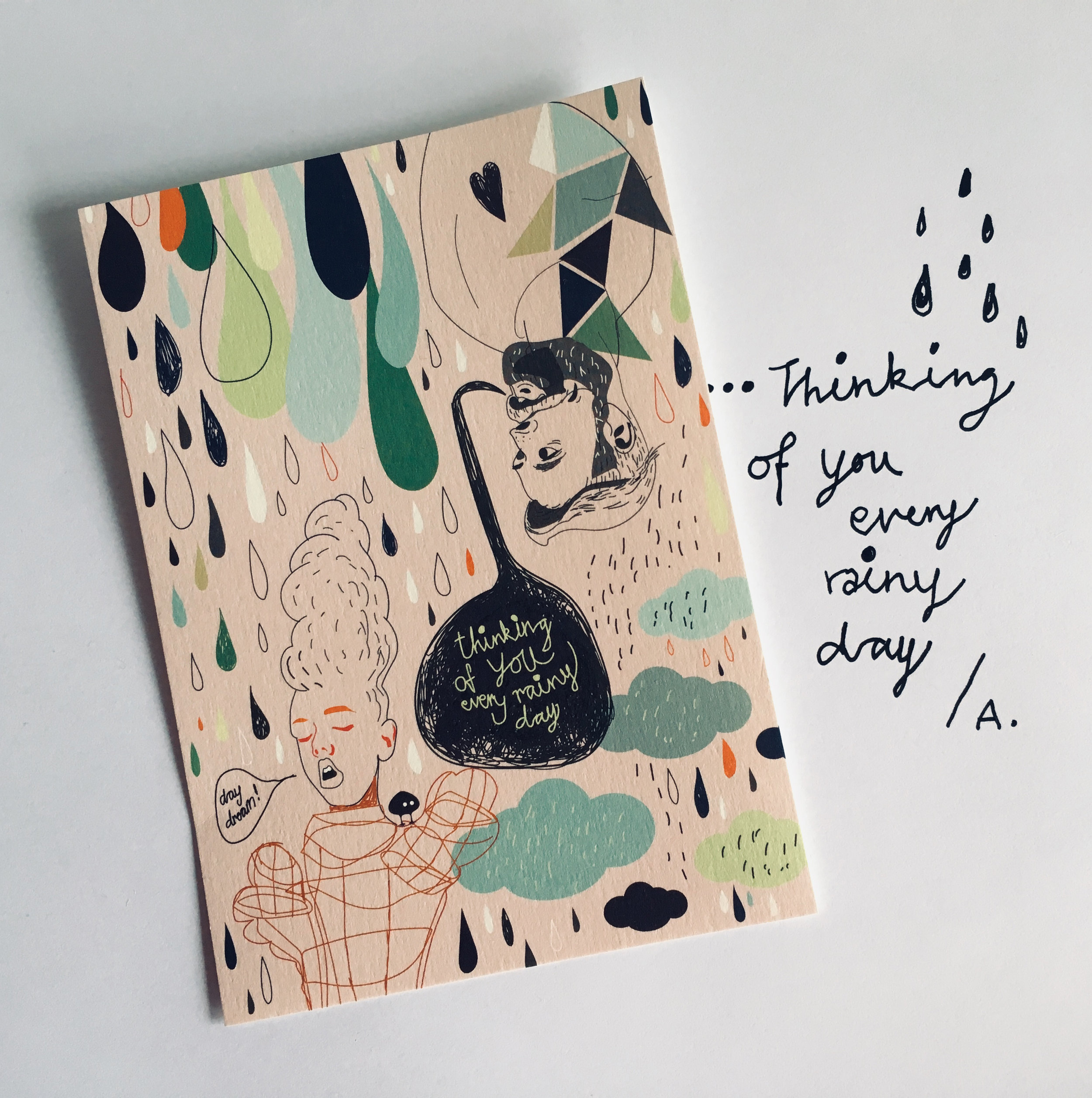 """""""Thinking of you every rainy day"""" - Scandinavian Pattern Collection - Japanese market"""