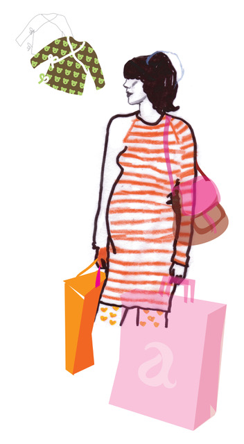 Illustration, pregnant / children´s clothes