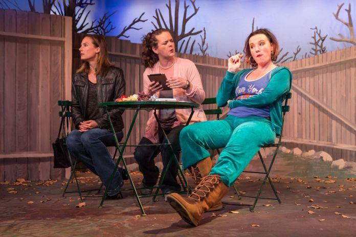"""Amber McDonald Good, Zoe Hawkins Wells, and Erin McKenna (along with Michael Castellano, not shown) star in 'Cry It Out,' playing at the Red Barn Theatre in Key West through May 7."""" LARRY BLACKBURN/Contributed"""