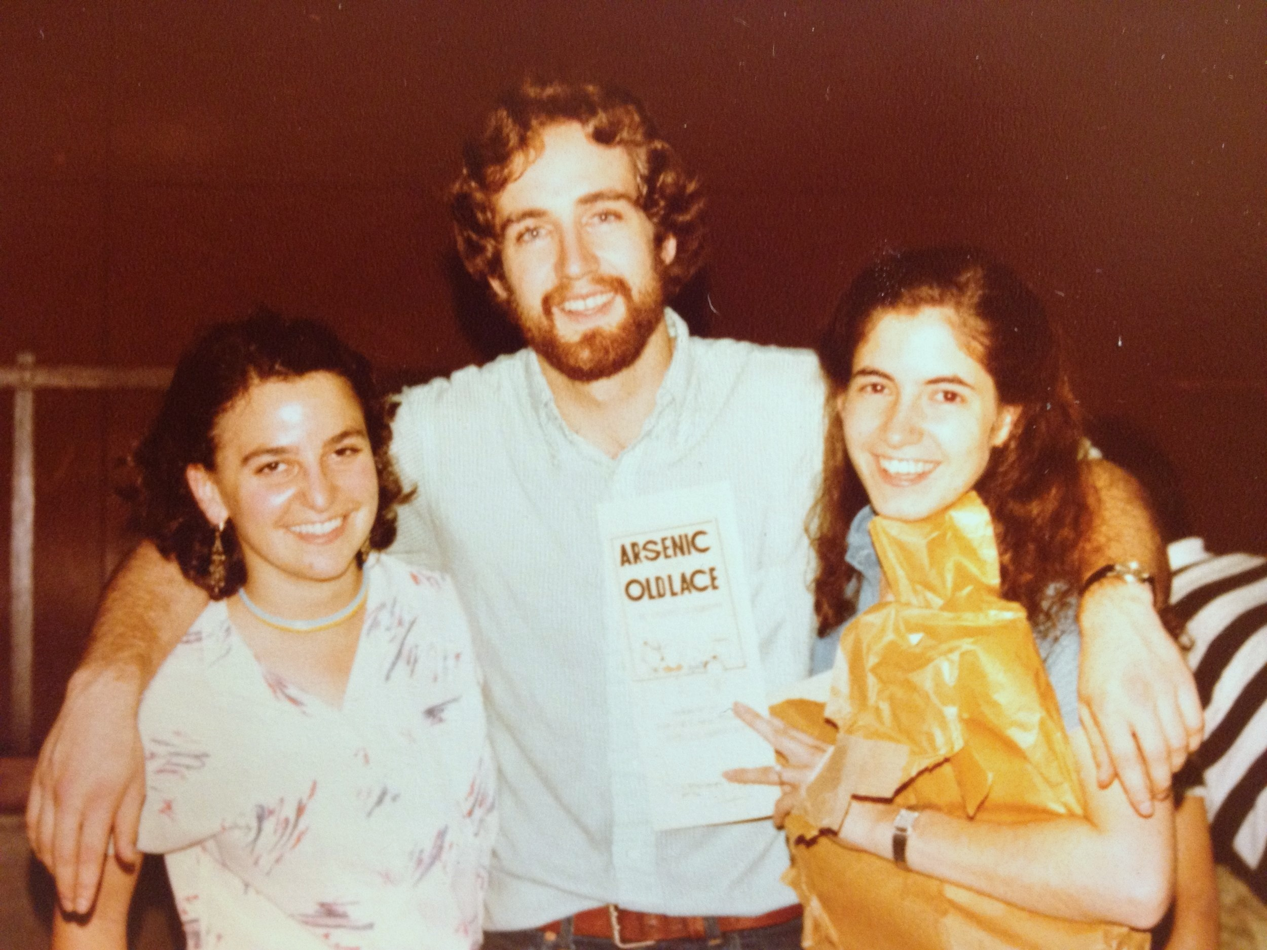 Douglas Ferguson (middle) with former fellows Katherine Sandweiss (left) and Mary Gwen Wheeler (right) at their production of  Arsenic and Old Lace  in 1981 with students from New Asia College of The Chinese University of Hong Kong.