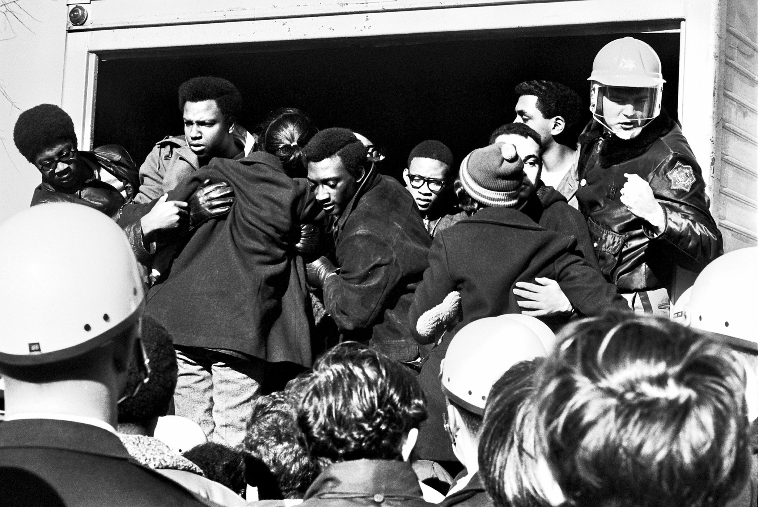 """A scene from UW – Oshkosh's """"Black Thursday,"""" November 21, 1968. Courtesy of  Oshkosh Northwestern ."""